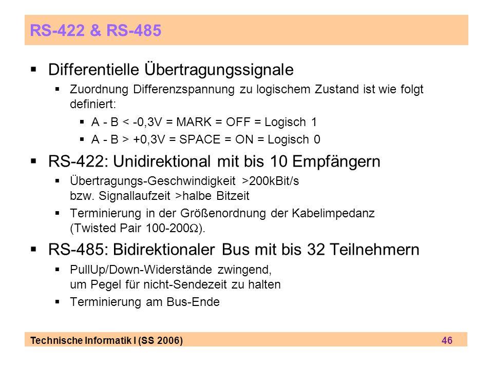 Technische Informatik I (SS 2006) 46 RS-422 & RS-485 Differentielle Übertragungssignale Zuordnung Differenzspannung zu logischem Zustand ist wie folgt definiert: A - B < -0,3V = MARK = OFF = Logisch 1 A - B > +0,3V = SPACE = ON = Logisch 0 RS-422: Unidirektional mit bis 10 Empfängern Übertragungs-Geschwindigkeit >200kBit/s bzw.