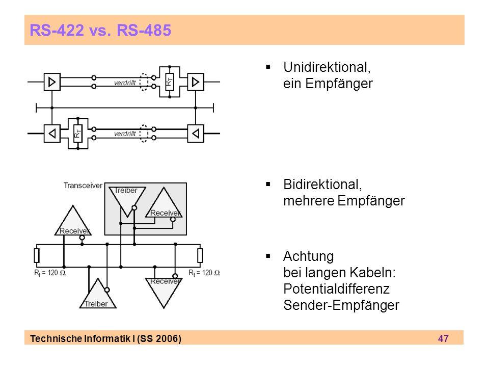 Technische Informatik I (SS 2006) 47 RS-422 vs. RS-485 Unidirektional, ein Empfänger Bidirektional, mehrere Empfänger Achtung bei langen Kabeln: Poten