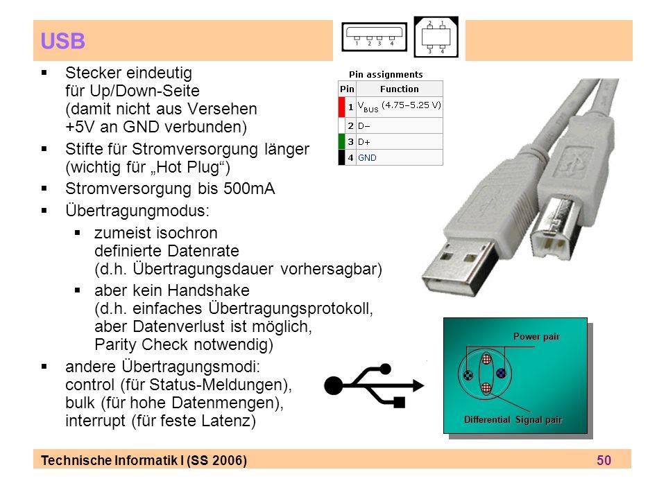 Technische Informatik I (SS 2006) 50 USB Stecker eindeutig für Up/Down-Seite (damit nicht aus Versehen +5V an GND verbunden) Stifte für Stromversorgung länger (wichtig für Hot Plug) Stromversorgung bis 500mA Übertragungmodus: zumeist isochron definierte Datenrate (d.h.