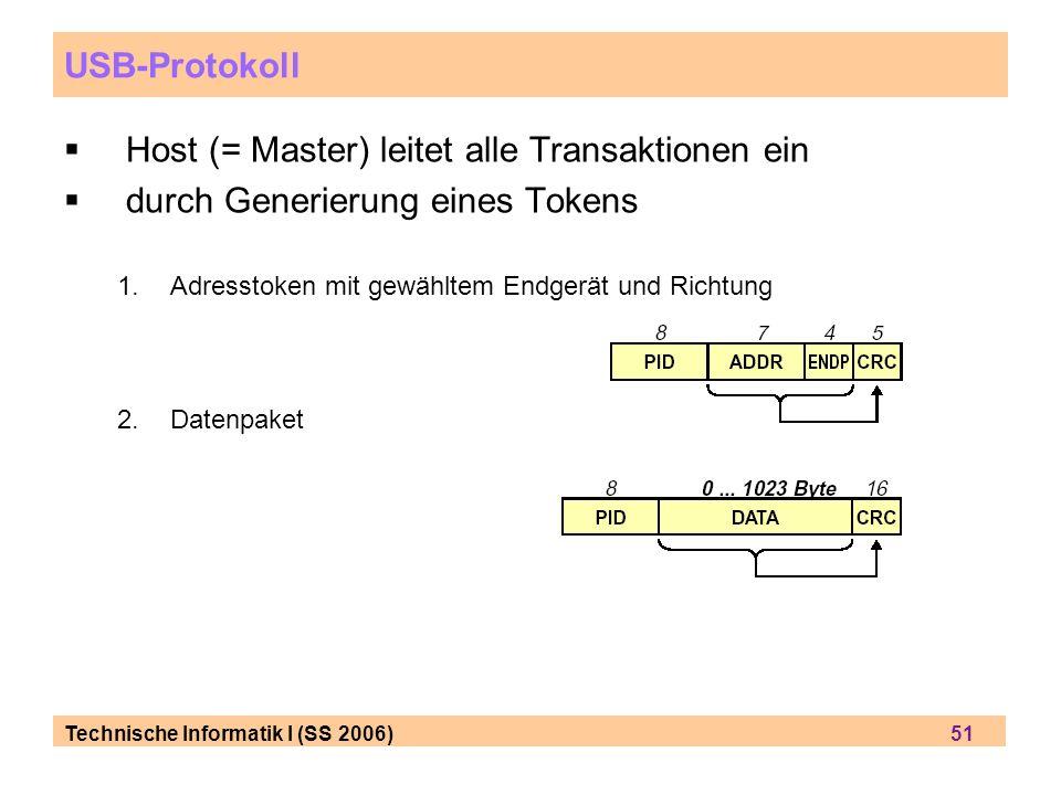 Technische Informatik I (SS 2006) 51 USB-Protokoll Host (= Master) leitet alle Transaktionen ein durch Generierung eines Tokens 1.Adresstoken mit gewähltem Endgerät und Richtung 2.Datenpaket