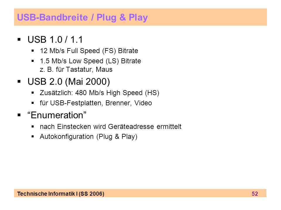Technische Informatik I (SS 2006) 52 USB-Bandbreite / Plug & Play USB 1.0 / 1.1 12 Mb/s Full Speed (FS) Bitrate 1.5 Mb/s Low Speed (LS) Bitrate z. B.