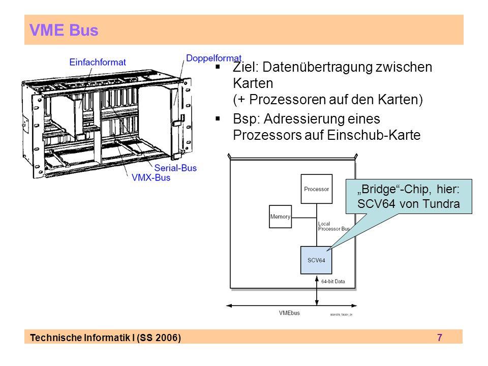 Technische Informatik I (SS 2006) 8 VME-Bus: Geschichte VME = VERSAmodule Eurocard VERSAbus wurde 1979 von Motorola für 68000 entwickelt 1980 mit der robusten Europakarte verheiratet (standardisierte Karten, Racks und Einschübe): MOStek, Phillips et al.