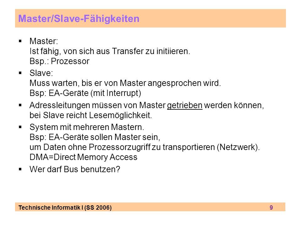 Technische Informatik I (SS 2006) 9 Master/Slave-Fähigkeiten Master: Ist fähig, von sich aus Transfer zu initiieren. Bsp.: Prozessor Slave: Muss warte
