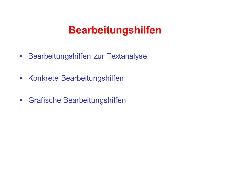 Bearbeitungshilfen Bearbeitungshilfen zur Textanalyse Konkrete Bearbeitungshilfen Grafische Bearbeitungshilfen