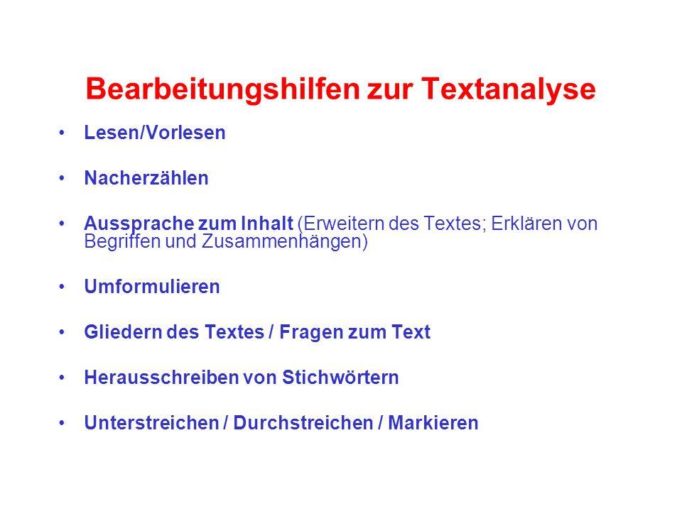 Bearbeitungshilfen zur Textanalyse Lesen/Vorlesen Nacherzählen Aussprache zum Inhalt (Erweitern des Textes; Erklären von Begriffen und Zusammenhängen)