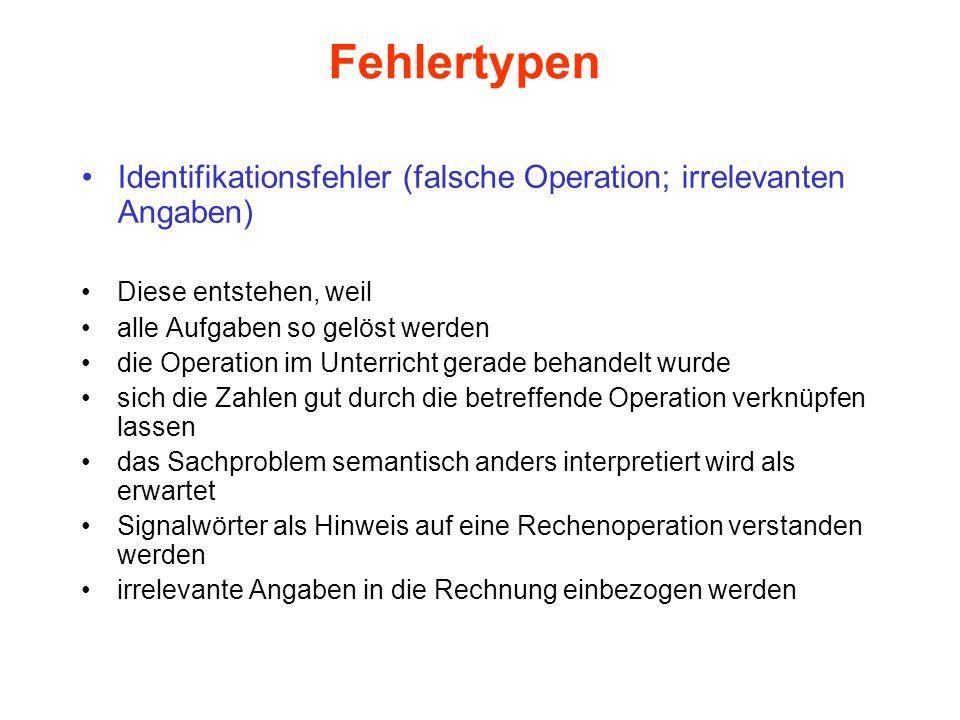 Fehlertypen Identifikationsfehler (falsche Operation; irrelevanten Angaben) Diese entstehen, weil alle Aufgaben so gelöst werden die Operation im Unte