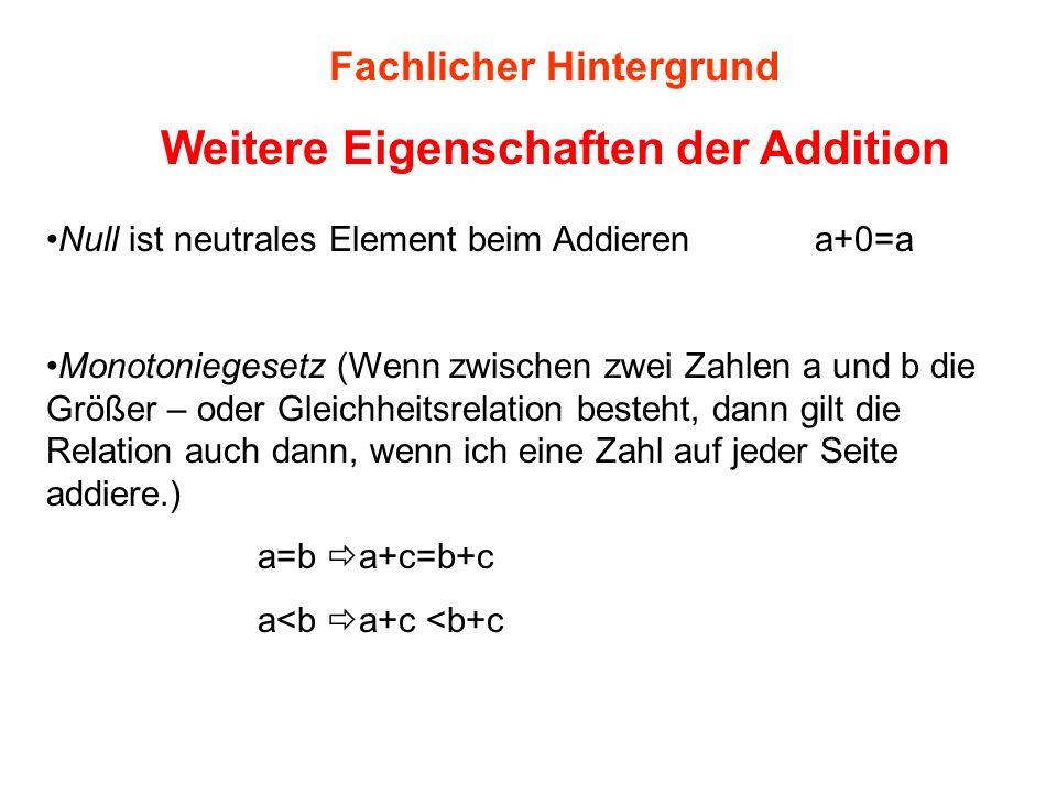 Fachlicher Hintergrund Weitere Eigenschaften der Addition Null ist neutrales Element beim Addieren a+0=a Monotoniegesetz (Wenn zwischen zwei Zahlen a