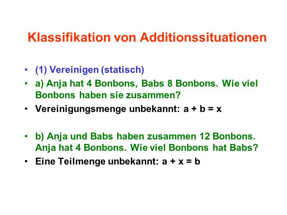 Klassifikation von Additionssituationen (1) Vereinigen (statisch) a) Anja hat 4 Bonbons, Babs 8 Bonbons. Wie viel Bonbons haben sie zusammen? Vereinig