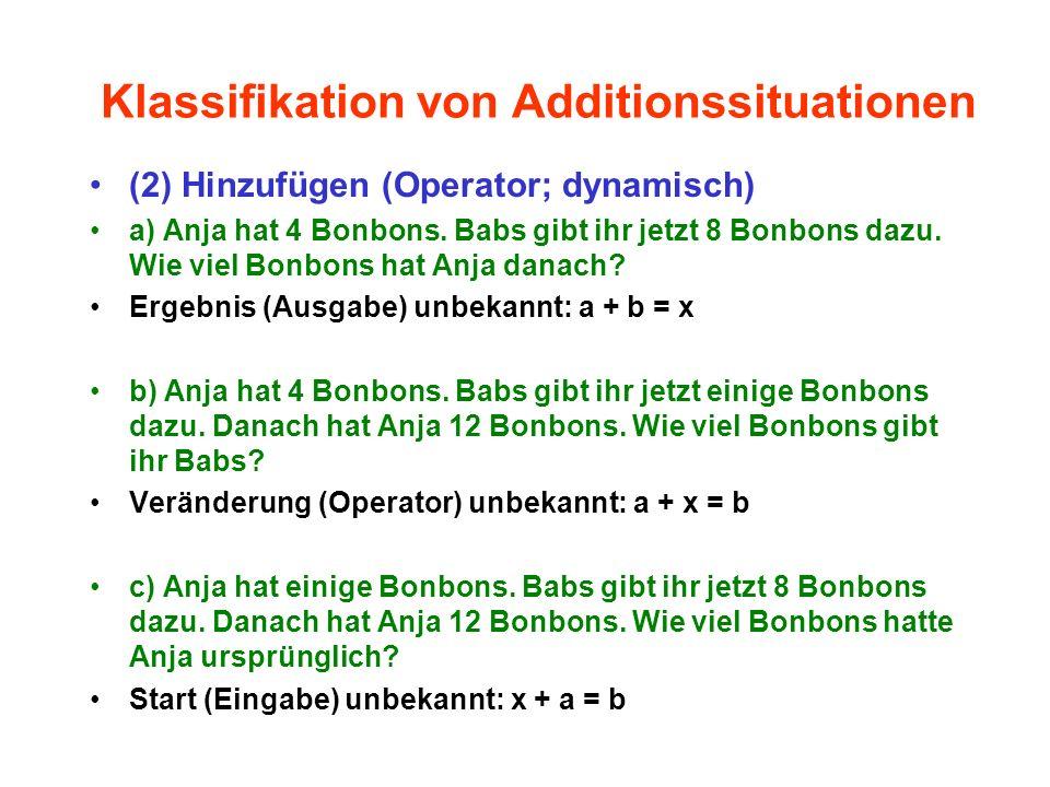Klassifikation von Additionssituationen (2) Hinzufügen (Operator; dynamisch) a) Anja hat 4 Bonbons. Babs gibt ihr jetzt 8 Bonbons dazu. Wie viel Bonbo