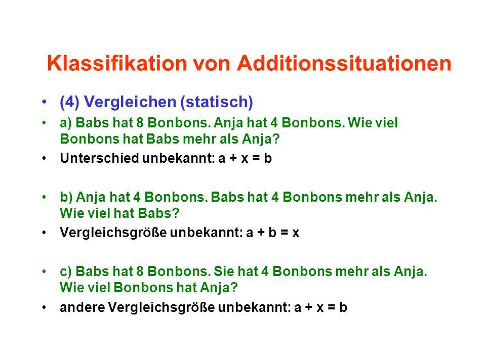 Klassifikation von Additionssituationen (4) Vergleichen (statisch) a) Babs hat 8 Bonbons. Anja hat 4 Bonbons. Wie viel Bonbons hat Babs mehr als Anja?