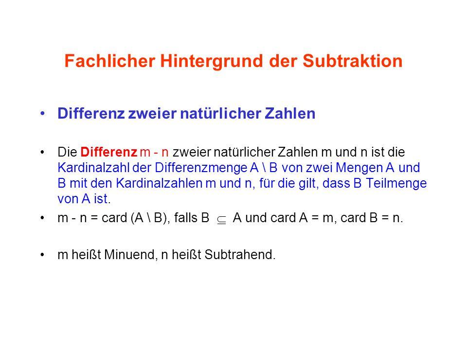 Fachlicher Hintergrund der Subtraktion Differenz zweier natürlicher Zahlen Die Differenz m - n zweier natürlicher Zahlen m und n ist die Kardinalzahl