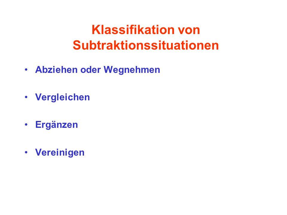 Klassifikation von Subtraktionssituationen Abziehen oder Wegnehmen Vergleichen Ergänzen Vereinigen