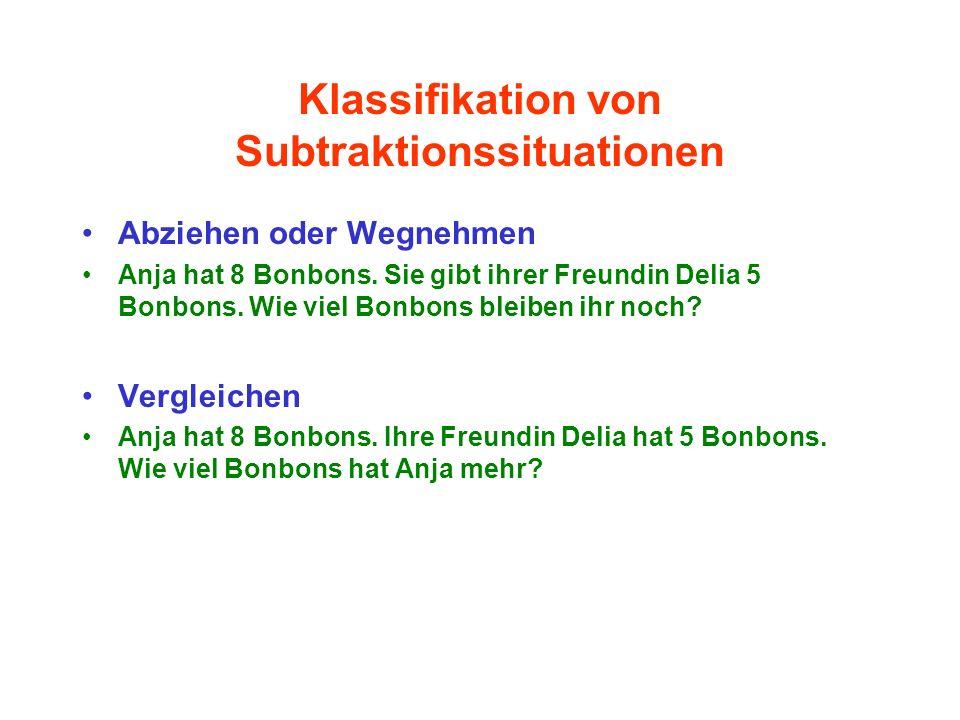 Klassifikation von Subtraktionssituationen Abziehen oder Wegnehmen Anja hat 8 Bonbons. Sie gibt ihrer Freundin Delia 5 Bonbons. Wie viel Bonbons bleib