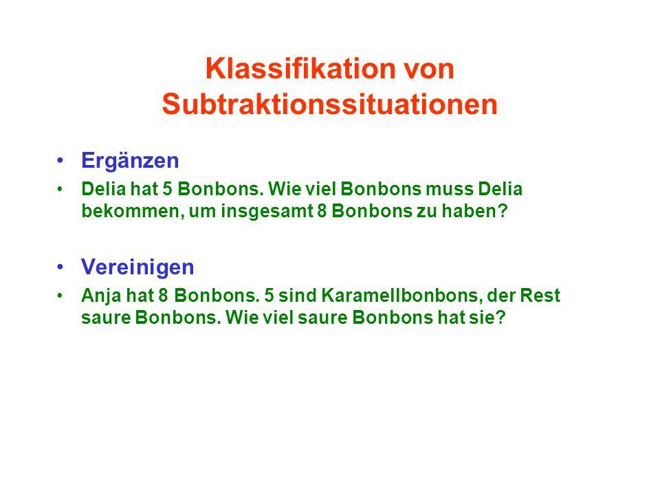 Klassifikation von Subtraktionssituationen Ergänzen Delia hat 5 Bonbons. Wie viel Bonbons muss Delia bekommen, um insgesamt 8 Bonbons zu haben? Verein