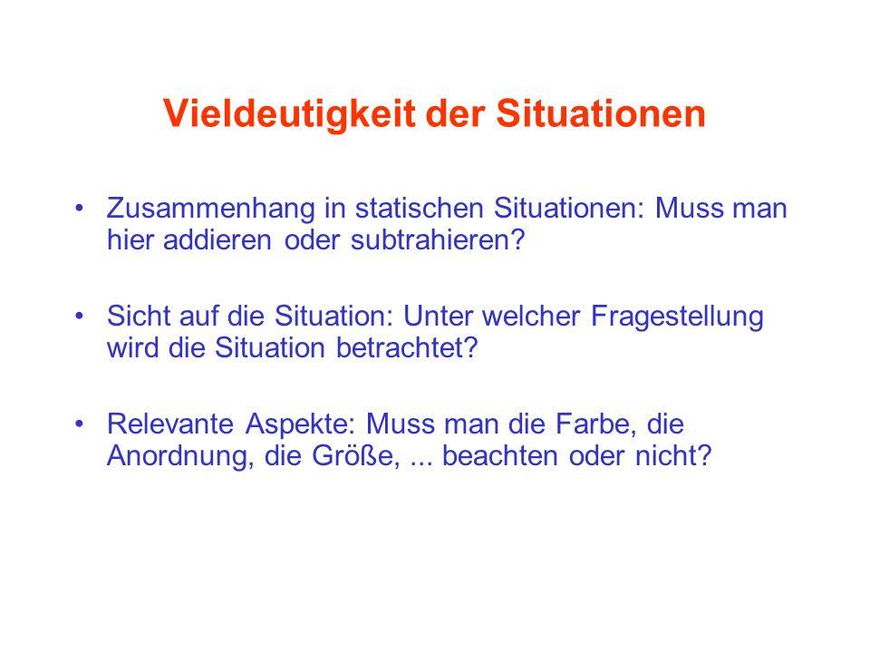 Vieldeutigkeit der Situationen Zusammenhang in statischen Situationen: Muss man hier addieren oder subtrahieren? Sicht auf die Situation: Unter welche