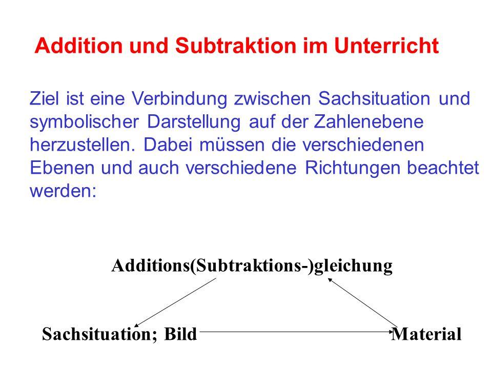 Addition und Subtraktion im Unterricht Ziel ist eine Verbindung zwischen Sachsituation und symbolischer Darstellung auf der Zahlenebene herzustellen.