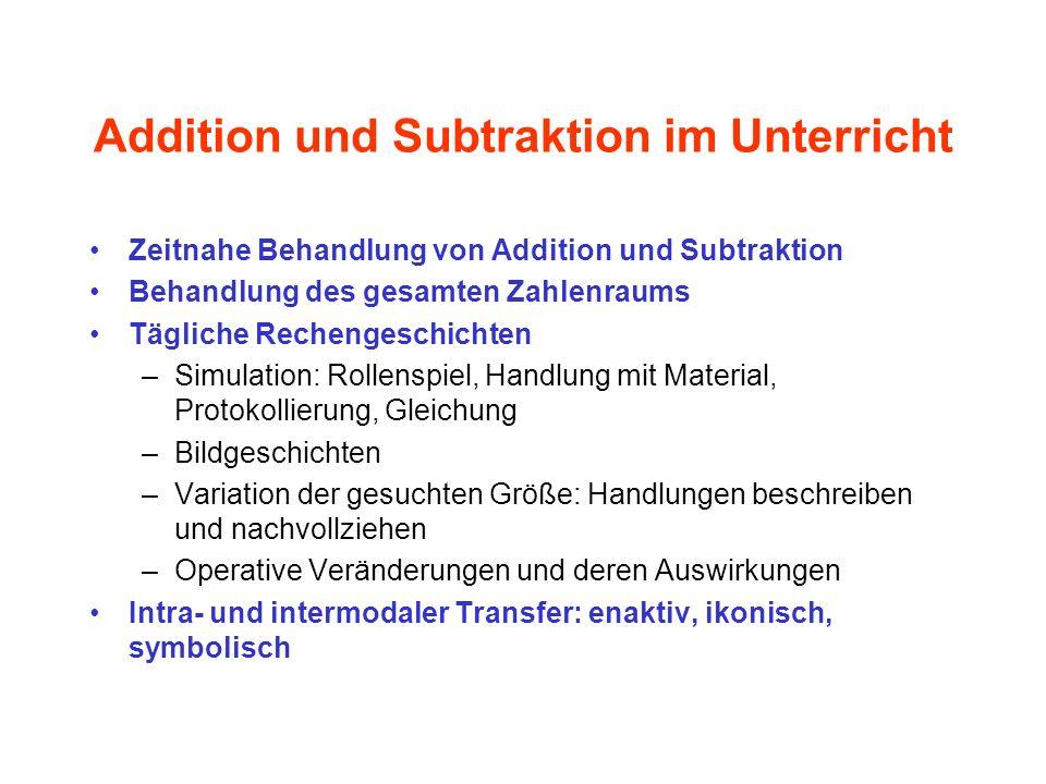 Zeitnahe Behandlung von Addition und Subtraktion Behandlung des gesamten Zahlenraums Tägliche Rechengeschichten –Simulation: Rollenspiel, Handlung mit