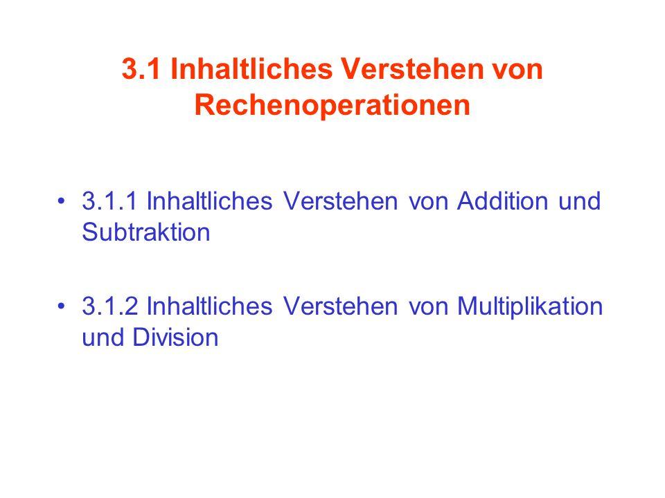 3.1 Inhaltliches Verstehen von Rechenoperationen 3.1.1 Inhaltliches Verstehen von Addition und Subtraktion 3.1.2 Inhaltliches Verstehen von Multiplika
