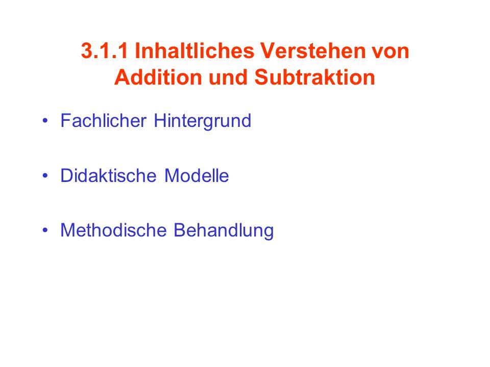 3.1.1 Inhaltliches Verstehen von Addition und Subtraktion Fachlicher Hintergrund Didaktische Modelle Methodische Behandlung