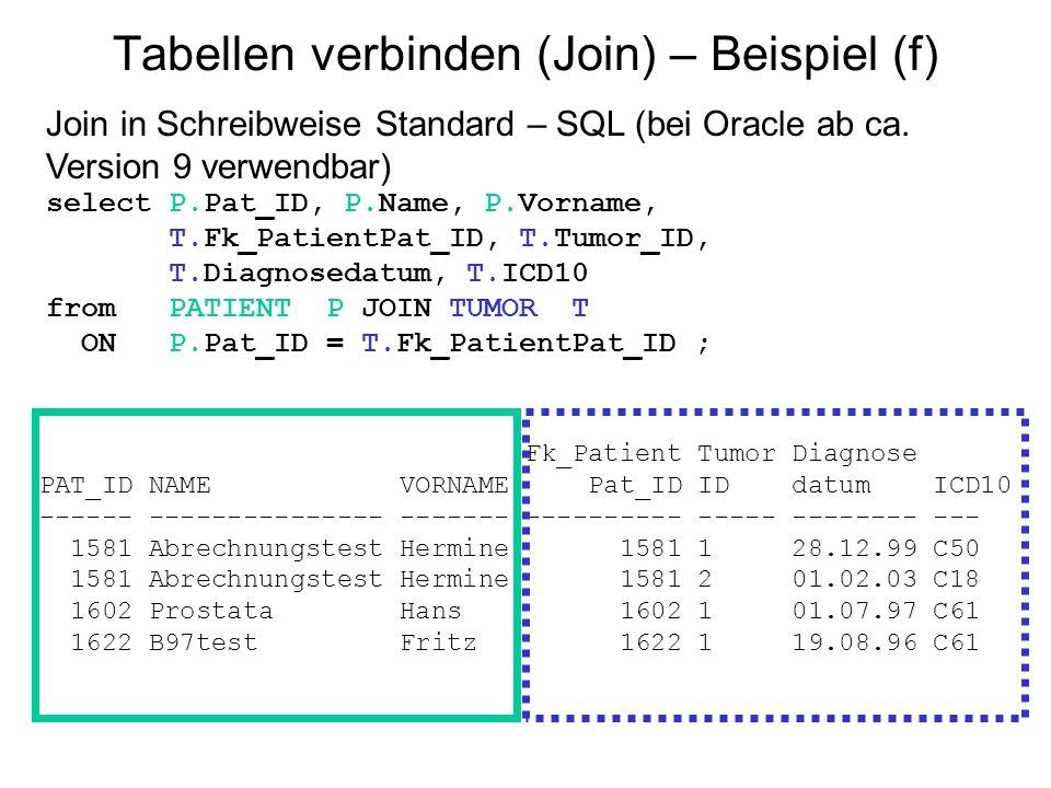Tabellen verbinden (Join) – Beispiel (f) Join in Schreibweise Standard – SQL (bei Oracle ab ca. Version 9 verwendbar) select P.Pat_ID, P.Name, P.Vorna