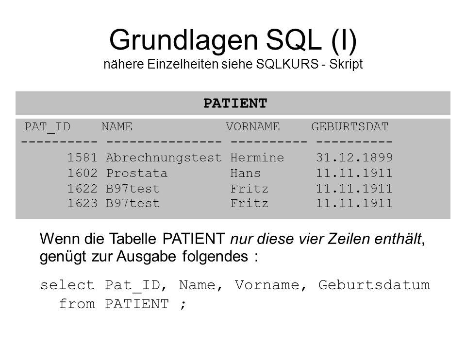 PAT_ID NAME VORNAME GEBURTSDAT ---------- --------------- ---------- ---------- 1581 Abrechnungstest Hermine 31.12.1899 1602 Prostata Hans 11.11.1911