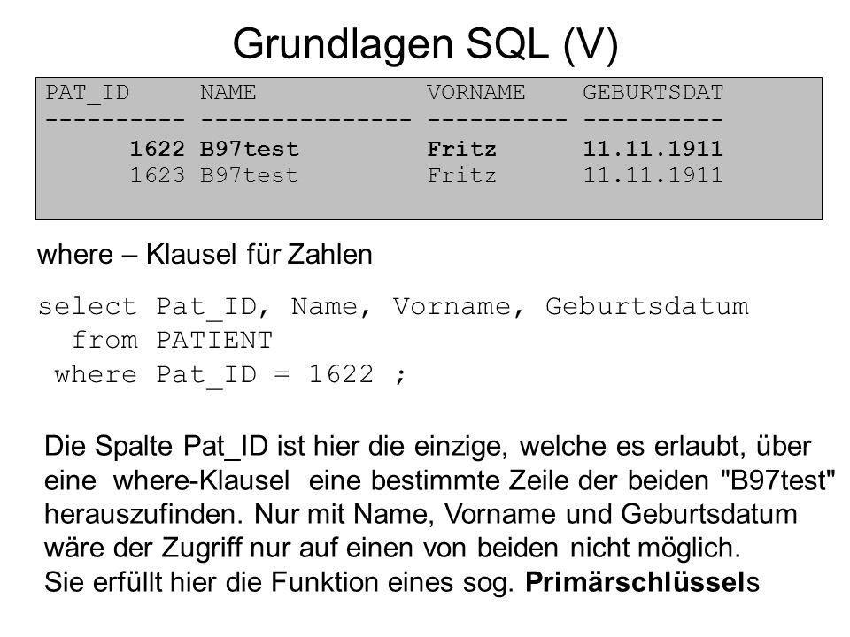 Grundlagen SQL (V) PAT_ID NAME VORNAME GEBURTSDAT ---------- --------------- ---------- ---------- 1622 B97test Fritz 11.11.1911 1623 B97test Fritz 11