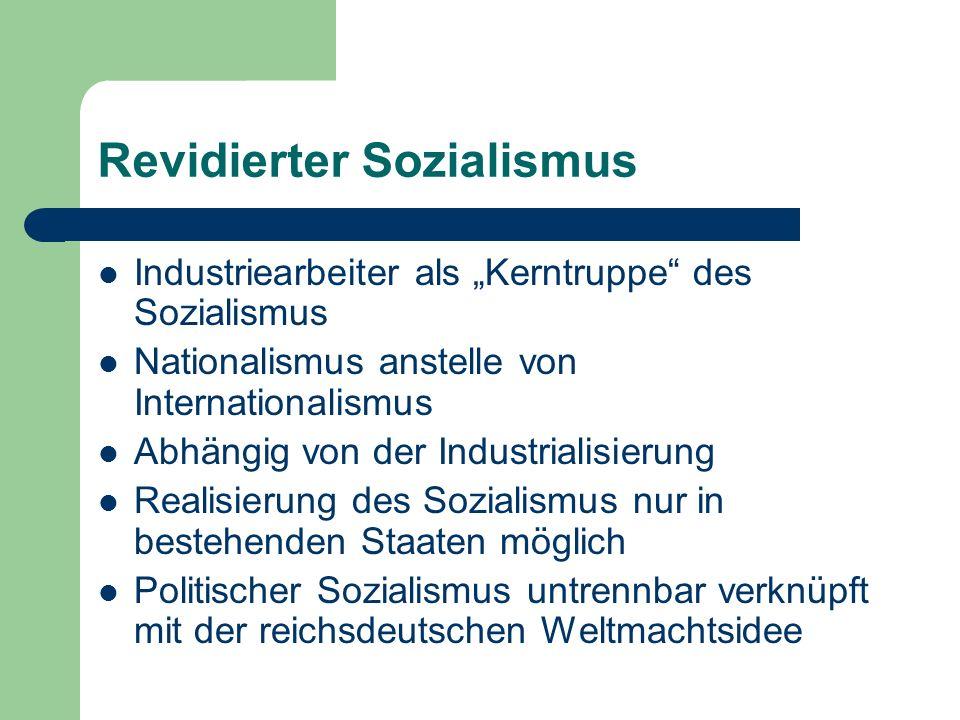 Industriearbeiter als Kerntruppe des Sozialismus Nationalismus anstelle von Internationalismus Abhängig von der Industrialisierung Realisierung des Sozialismus nur in bestehenden Staaten möglich Politischer Sozialismus untrennbar verknüpft mit der reichsdeutschen Weltmachtsidee Revidierter Sozialismus