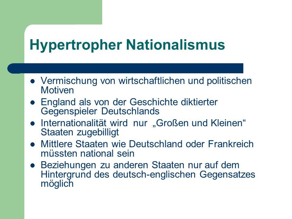 Hypertropher Nationalismus Vermischung von wirtschaftlichen und politischen Motiven England als von der Geschichte diktierter Gegenspieler Deutschland