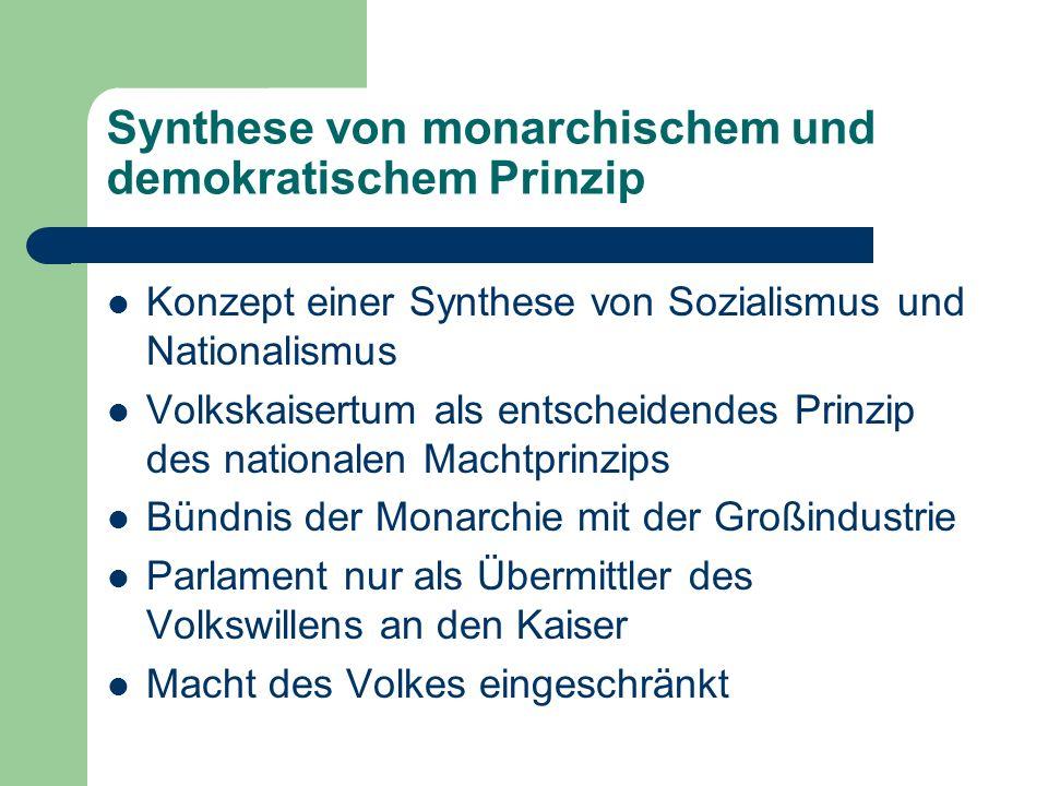 Synthese von monarchischem und demokratischem Prinzip Konzept einer Synthese von Sozialismus und Nationalismus Volkskaisertum als entscheidendes Prinz