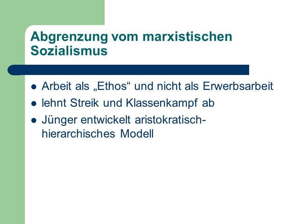 Abgrenzung vom marxistischen Sozialismus Arbeit als Ethos und nicht als Erwerbsarbeit lehnt Streik und Klassenkampf ab Jünger entwickelt aristokratisch- hierarchisches Modell