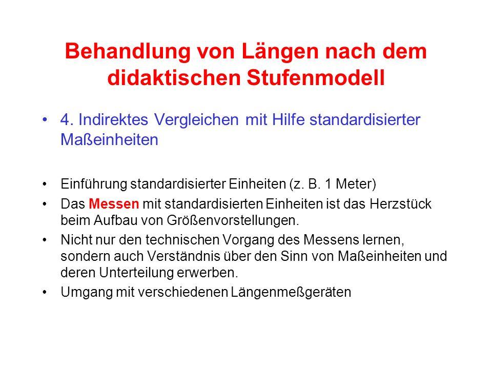 Behandlung von Längen nach dem didaktischen Stufenmodell 4. Indirektes Vergleichen mit Hilfe standardisierter Maßeinheiten Einführung standardisierter