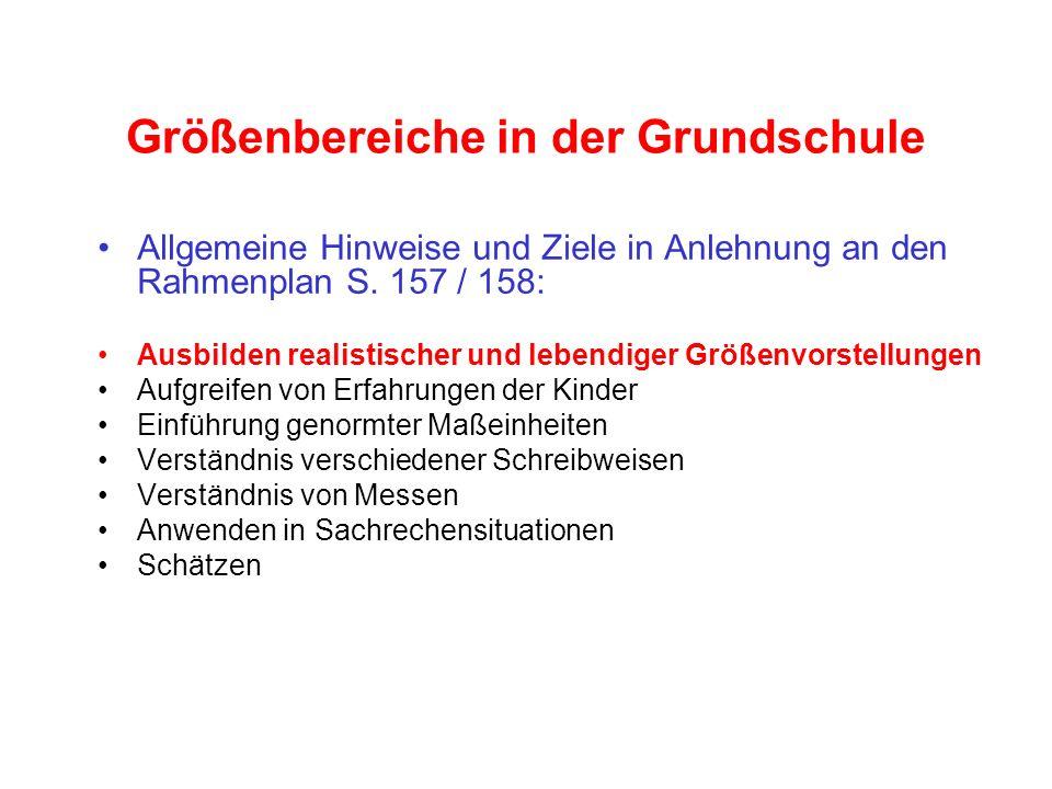 Größenbereiche in der Grundschule Allgemeine Hinweise und Ziele in Anlehnung an den Rahmenplan S. 157 / 158: Ausbilden realistischer und lebendiger Gr