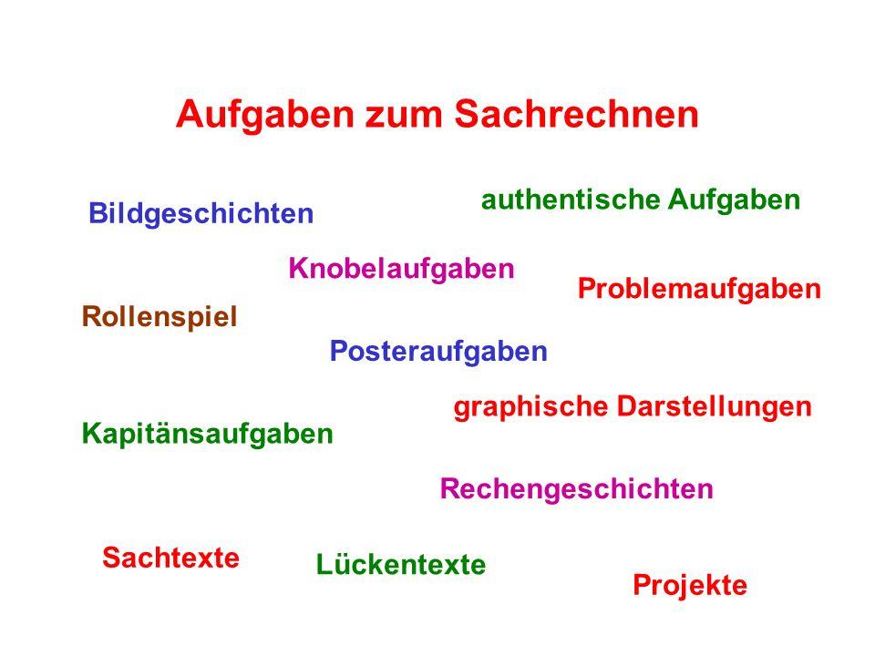 Aufgaben zum Sachrechnen Problemaufgaben Rechengeschichten authentische Aufgaben Posteraufgaben Bildgeschichten Knobelaufgaben Rollenspiel Projekte Ka