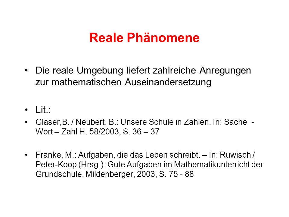 Reale Phänomene Die reale Umgebung liefert zahlreiche Anregungen zur mathematischen Auseinandersetzung Lit.: Glaser,B. / Neubert, B.: Unsere Schule in