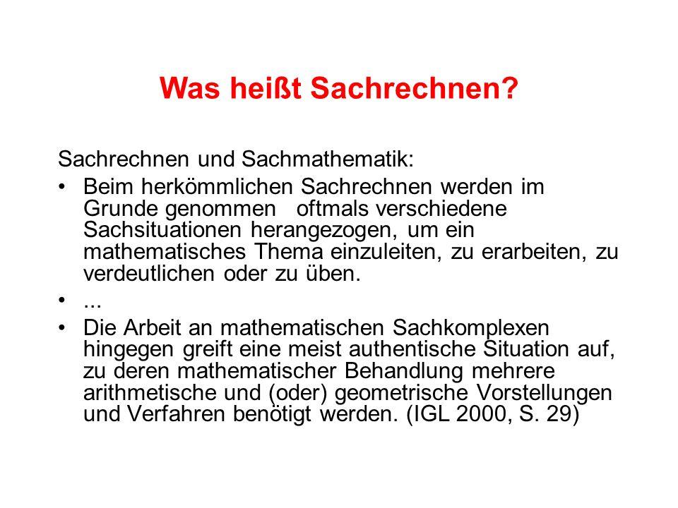 Aufgaben zum Sachrechnen Einteilung von Aufgaben nach dem mathematischen Inhalt Sachaufgaben mit vorwiegend geometrischem Inhalt Sachaufgaben mit vorwiegend stochastischem Inhalt Sachaufgaben zum Aufbau von Größenvorstellungen Sachaufgaben mit vorwiegend arithmetischem Inhalt