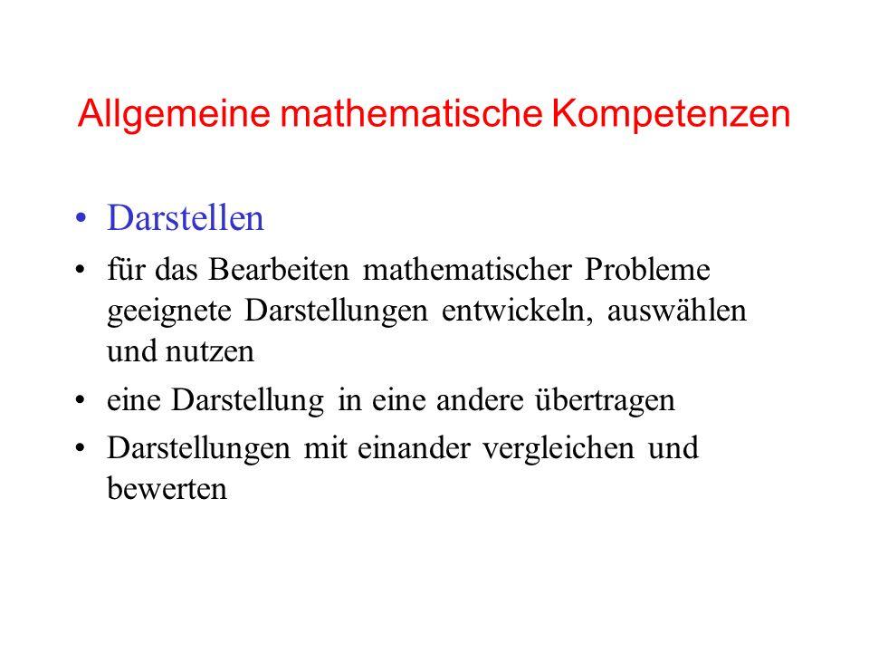 Allgemeine mathematische Kompetenzen Darstellen für das Bearbeiten mathematischer Probleme geeignete Darstellungen entwickeln, auswählen und nutzen eine Darstellung in eine andere übertragen Darstellungen mit einander vergleichen und bewerten
