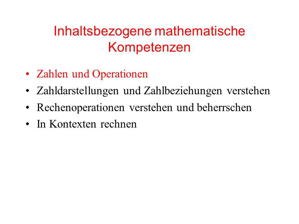Inhaltsbezogene mathematische Kompetenzen Zahlen und Operationen Zahldarstellungen und Zahlbeziehungen verstehen Rechenoperationen verstehen und beherrschen In Kontexten rechnen