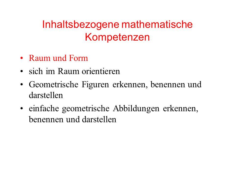 Inhaltsbezogene mathematische Kompetenzen Raum und Form sich im Raum orientieren Geometrische Figuren erkennen, benennen und darstellen einfache geometrische Abbildungen erkennen, benennen und darstellen
