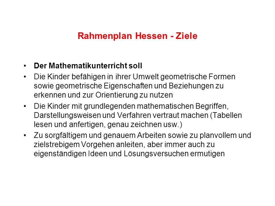 Rahmenplan Hessen - Fachdidaktische Grundsätze Das Lernen im Mathematikunterricht soll wirklichkeitsnah und in lebendigen Anwendungssituationen erfolgen.