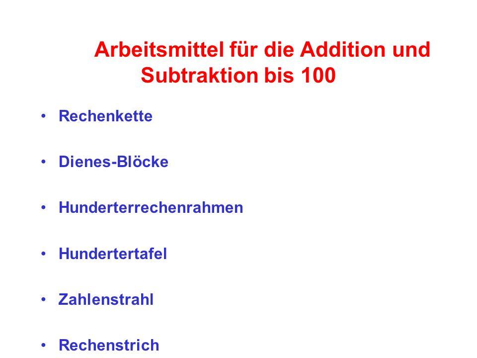 Arbeitsmittel für die Addition und Subtraktion bis 100 Rechenkette Dienes-Blöcke Hunderterrechenrahmen Hundertertafel Zahlenstrahl Rechenstrich