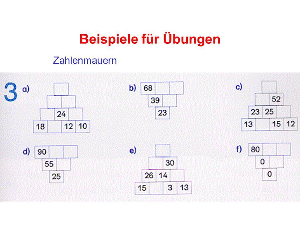 Beispiele für Übungen Zahlenmauern