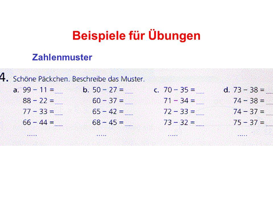 Beispiele für Übungen Zahlenmuster