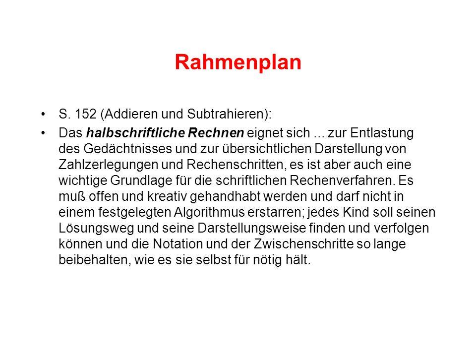 Rahmenplan S. 152 (Addieren und Subtrahieren): Das halbschriftliche Rechnen eignet sich... zur Entlastung des Gedächtnisses und zur übersichtlichen Da