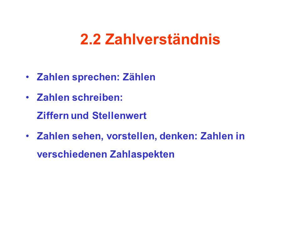 2.2 Zahlverständnis Zahlen sprechen: Zählen Zahlen schreiben: Ziffern und Stellenwert Zahlen sehen, vorstellen, denken: Zahlen in verschiedenen Zahlas