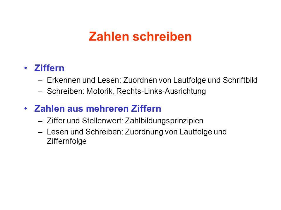 Ziffernkenntnis (Schmidt 1982) 78 % der Kinder können alle zehn Ziffern erkennen und lesen.