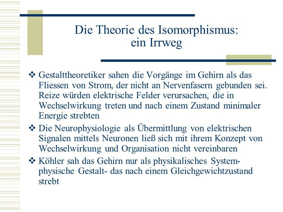 Die Theorie des Isomorphismus: ein Irrweg Gestalttheoretiker sahen die Vorgänge im Gehirn als das Fliessen von Strom, der nicht an Nervenfasern gebund