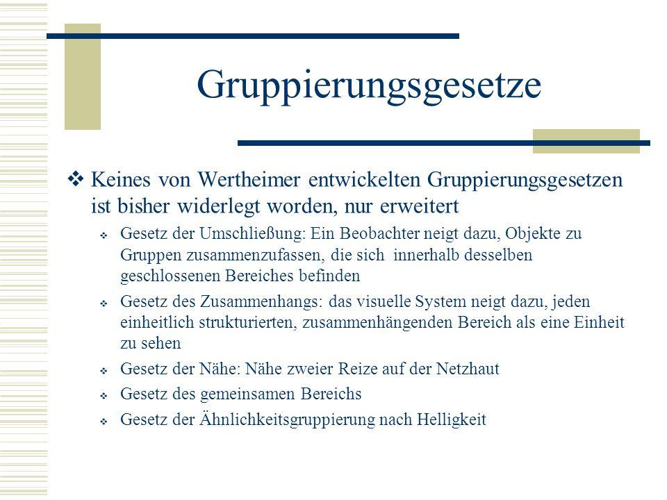 Gruppierungsgesetze Keines von Wertheimer entwickelten Gruppierungsgesetzen ist bisher widerlegt worden, nur erweitert Gesetz der Umschließung: Ein Be