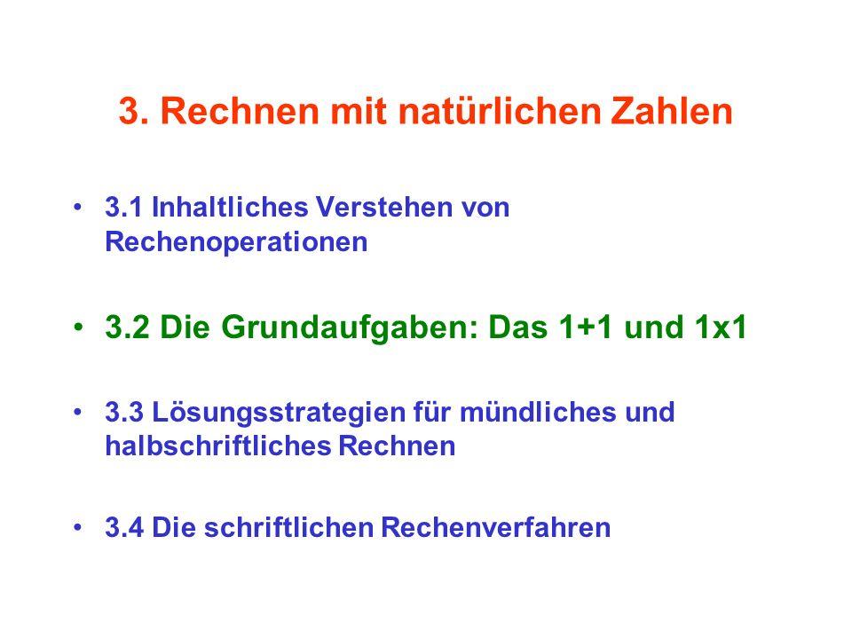 3. Rechnen mit natürlichen Zahlen 3.1 Inhaltliches Verstehen von Rechenoperationen 3.2 Die Grundaufgaben: Das 1+1 und 1x1 3.3 Lösungsstrategien für mü