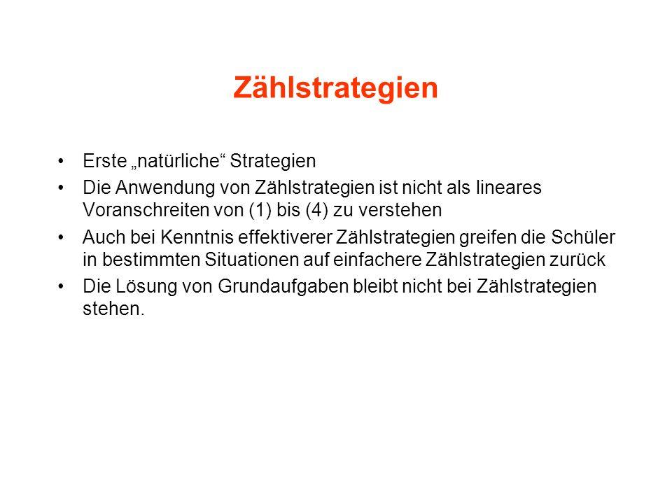 Zählstrategien Erste natürliche Strategien Die Anwendung von Zählstrategien ist nicht als lineares Voranschreiten von (1) bis (4) zu verstehen Auch be