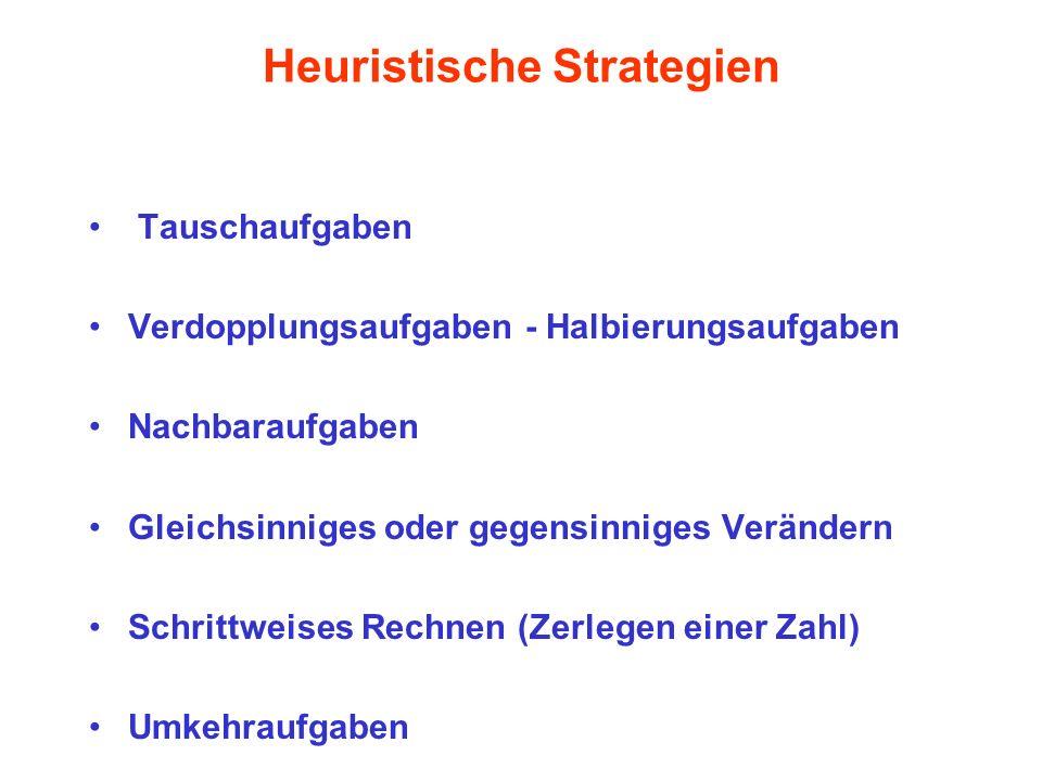 Heuristische Strategien Tauschaufgaben Verdopplungsaufgaben - Halbierungsaufgaben Nachbaraufgaben Gleichsinniges oder gegensinniges Verändern Schrittw